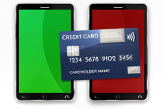Mobile payment credit card 3d render Royalty Free Stock Images