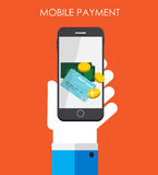 Mobile Payment Flat Concept Vector Illustration Royalty Free Stock Images