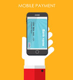 Mobile Payment Flat Concept Vector Illustration Royalty Free Stock Photos