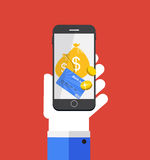 Mobile Payment Flat Concept Vector Illustration Royalty Free Stock Photography
