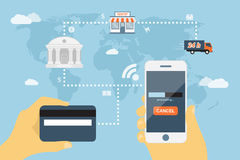 Mobile payment. Flat style concept for mobile payment using smartphone and credit card, near field communication technology, online banking, online shopping, e Royalty Free Stock Photos