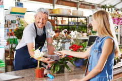 Mobile payment in garden center royalty free stock photography