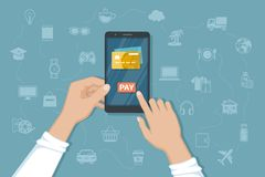 Mobile Payment for goods, services, shopping using smartphone. Online banking, pay with phone. Credit card on screen, button pay stock illustration