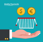 Mobile payment hand hold basket and coins dollar euro Stock Image