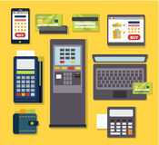 Mobile Payment Icon Set Stock Photography