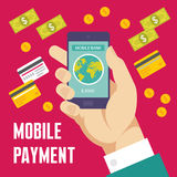 Mobile Payment Illustration in Flat Design Style Stock Photo