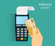 Mobile payment. Illustration of wireless mobile payment by credit card Royalty Free Stock Photos