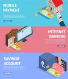 Mobile Payment. Internet Banking. Savings Account. Mobile payment, Internet banking and savings account page vector illustration. Bank building, bundle of money Stock Images