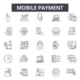 Mobile payment line icons, signs, vector set, linear concept, outline illustration vector illustration