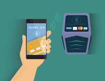 Mobile payment. Modern illustration of mobile payment by credit card via smartphone vector illustration