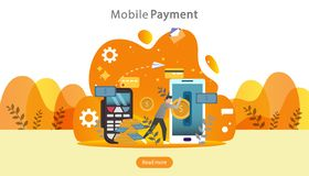 Mobile payment or money transfer concept. E-commerce market shopping online illustration with tiny people character. template for. Web landing page, banner vector illustration