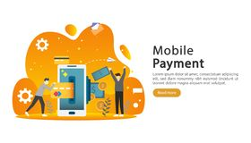 mobile payment or money transfer concept. E-commerce market shopping online illustration with tiny people character. template for stock illustration