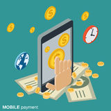 Mobile payment, money transfer, financial transaction vector concept Royalty Free Stock Images