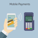 Mobile Payment With NFC Technology. Customer paying with electronic banking on mobile payment to edc terminal Royalty Free Stock Photography