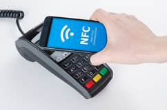 Mobile payment with NFC technology. Mobile payment with NFC near field communication technology Royalty Free Stock Photography