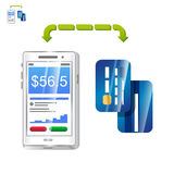 Mobile payment with phone app and cards vector. Icon of mobile payments with cards Stock Photography