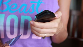 Mobile Payment With Phone And Credit Card stock footage