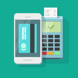 Mobile payment processing wireless technology vector, air pay via mobile phone and nfc pos terminal, smartphone Royalty Free Stock Photo