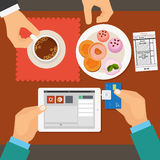 Mobile payment in restaurant using tablet. Vector Royalty Free Stock Photos