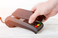 Mobile payment with smart phone. Stock Images