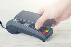 Mobile payment with smart phone. stock image