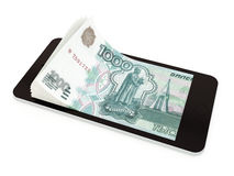 Mobile payment with smart phone, Russian rubles Royalty Free Stock Photography