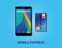 Mobile payment with smartphone and credit card Stock Image