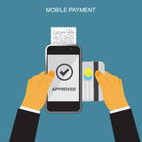 Mobile payment through smartphone, terminal and credit card, online banking concept Royalty Free Stock Image