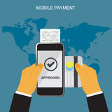 Mobile payment through smartphone, terminal and credit card, online banking concept, vector illustration in flat design for web si Stock Image