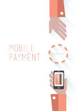Mobile payment  with text Royalty Free Stock Photo