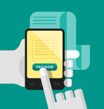 Mobile Payment. Using a mobile phone to bank and shop online royalty free illustration