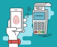 Mobile payment via smartphone using fingerprint identification. Flat line contour illustration of payment via smartphone app Stock Images