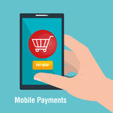 Mobile payments business icon. Illustration design Stock Photos