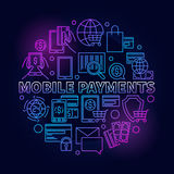 Mobile payments circular blue sign Stock Images