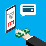 Mobile payments concept. Human hand finger pay money on a smartphone but app can payment with credit card only. Royalty Free Stock Image