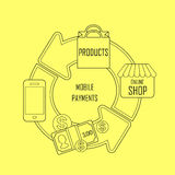 Mobile payments concept in thin line style Royalty Free Stock Photography
