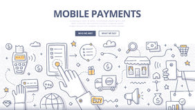 Mobile Payments Doodle Concept Stock Photography