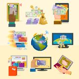 Mobile payments icons vector smartphone transaction ecommerce wallet wireless connection banking card credit online pay. Mobile payments icons vector smartphone Stock Photo