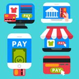 Mobile payments icons vector smartphone transaction ecommerce wallet wireless connection banking card credit pay. Mobile payments icons vector smartphone Royalty Free Stock Photography