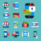 Mobile payments icons vector smartphone transaction ecommerce wallet wireless connection banking card credit pay. Mobile payments icons vector smartphone Stock Photography