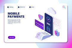Mobile payments isometric concept. Online secure payment smartphone app. Banking internet shopping technology vector. Landing page. Illustration of online royalty free illustration