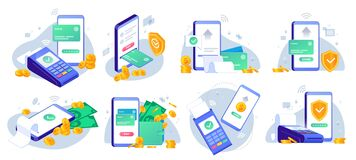 Free Mobile Payments. Online Sending Money From Mobile Wallet To Bank Card, Golden Coins Transfer App And E Payment Vector Royalty Free Stock Images - 178571469