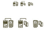 Mobile payments set vector icons. Icon set of mobile payments Stock Photos