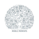 Mobile payments thin line concept Stock Photo
