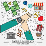 Mobile payments using a smart watch. Royalty Free Stock Photography