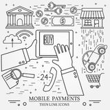 Mobile payments using a tablet computer, tablet pc,  computer. Stock Photos