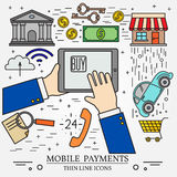 Mobile payments using a tablet computer, tablet pc,  computer. Royalty Free Stock Photography