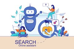 Mobile and PC Smart Search Online Assistant vector illustration
