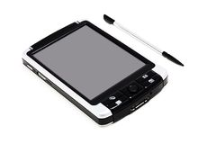 Mobile PC with Stylus. Mobile pc with chrome stylus on a white background with pretty shadows Stock Photo