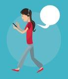 Mobile people cartoon design stock illustration